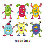 Cute monster set cartoon style.  print.  Royalty Free Stock Photos