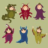 Cute monster set. Children in monster costumes. Cute monster set. Children in monster kigurumi costumes. Vector illustration Royalty Free Stock Image