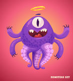 Cute monster set for halloween. Big collection of cute monsters. Halloween character. Vector illustrations. Good for book illustration, magazine prints or Stock Images