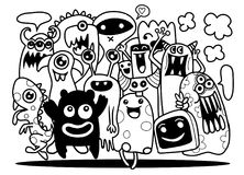 Cute Monster Set, Hand drawing cute doodle monster group,Flat De. Sign Vector illustration. doodle style Royalty Free Stock Photos