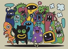 Cute Monster Set, Hand drawing cute doodle monster group,Flat De. Sign Vector illustration. doodle style Stock Images