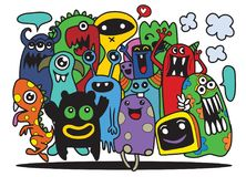 Cute Monster Set, Hand drawing cute doodle monster group,Flat De. Sign Vector illustration. doodle style Stock Image