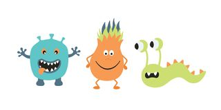 Cute Monster Set. Vector illustration in flat style isolated on white background Royalty Free Stock Image
