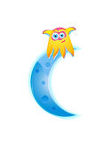 Cute monster sitting on the moon crescent Stock Image