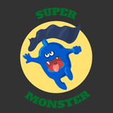Cute monster T-shirt graphics, cute cartoon Royalty Free Stock Photo