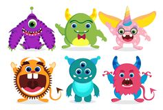 Cute monster vector characters elements set with funny faces royalty free stock image