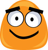 Cute monster - vector clipart. Cute orange monster smiling and isolated on white background Stock Photography
