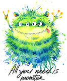 Cute monster watercolor illustration. Fluffy Monster. Cartoon cute monster. All you need is monster hand written text. Invitation card royalty free illustration
