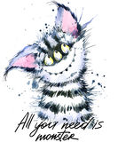 Cute monster watercolor illustration. Fluffy Monster. Cartoon cute monster. Stock Image
