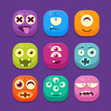 Cute Monster Web Icons, Colourful Vector Royalty Free Stock Photo