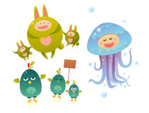 Cute monsters. Cute and funny cartoon monsters Royalty Free Stock Photo