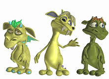 Cute monsters. 3d illustration of three cute monsters Royalty Free Stock Photography