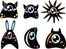 Cute monsters. Set of six funny doodle monsters Royalty Free Stock Photo