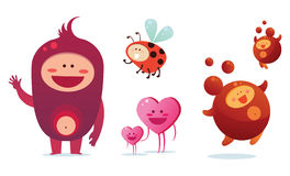Cute monsters. Set of cute and cheerful monsters Stock Photography
