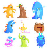 Cute Monsters and Aliens Set Royalty Free Stock Photos