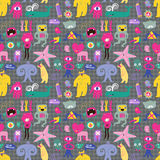 Cute Monsters And Freaks. Seamless Background. Royalty Free Stock Image