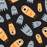 Halloween dark seamless pattern. Cute monsters background. Cute monsters background. Halloween dark seamless pattern Stock Photo