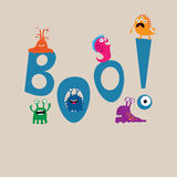 Cute monsters on the background of the word boo Royalty Free Stock Photos