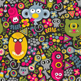 Cute monsters balloons seamless pattern on dark Stock Images