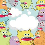 Cute monsters banner cloud shape. vector illustration