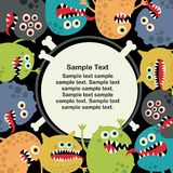 Cute monsters banner. Stock Photo