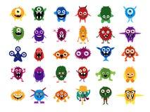 Cute monsters. Big set of cartoon monsters Royalty Free Stock Photo
