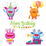 Cute Monsters For Birthday Card. Monsters Inside Me. Aliens Birthday Parties. Space Aliens Card. Royalty Free Stock Photos