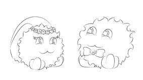 Cute monsters bride and groom coloring book Royalty Free Stock Image