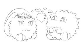Cute monsters bride and groom hearts coloring book Stock Photography