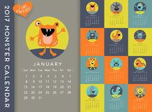 2017 cute monsters calendar. 2017 calendar illustrated with a cute monster for every month royalty free illustration