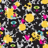 Cute monsters cats and money seamless pattern. Vector colorful texture with cyclops for you background Royalty Free Stock Images