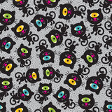 Cute monsters cats seamless pattern. Vector colorful texture with cyclops for you background Stock Photo