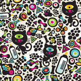 Cute monsters cats seamless pattern. Royalty Free Stock Image