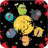 Cute monsters on the coin of dollar. Royalty Free Stock Photography