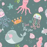 Cute monsters of the deep. Vector illustration of sea animals. Cartoon seamless pattern on a blue background. It can be used for backgrounds, surface textures Stock Images