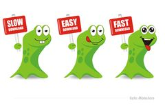Cute monsters download series. Cute  green monsters holding a download signage Royalty Free Stock Photos