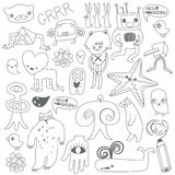 Cute monsters and freaks. Black-white. Cute monsters and freaks. Set 4. Black-white. Vector illustration Stock Photography