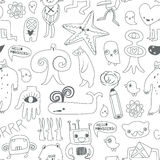 Cute monsters and freaks. Seamless background Stock Photos