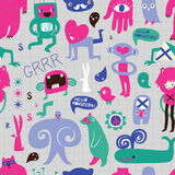 Cute monsters and freaks. Seamless background. Set 8. Vector illustration Royalty Free Stock Photos