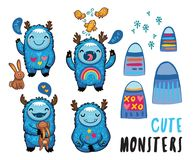 Cute monsters friendly stickers set. Vector illustration. Cute patches with cartoon monsters, mountains, rabbits and birds. Awesome childish stickers. Vector Royalty Free Stock Image