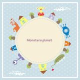 Cute monsters greeting card Royalty Free Stock Photos