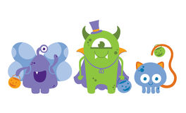 Cute Monsters In Halloween Costumes. Cute monsters dressed as a butterfly, vampire, and cat for Halloween Royalty Free Illustration