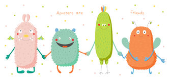 Cute monsters holding hands. Hand drawn vector illustration of cute funny colourful monsters smiling and holding hands, text Monsters are friends. Isolated Royalty Free Stock Photos
