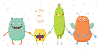 Cute monsters holding hands stock illustration