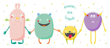 Cute monsters holding hands. Hand drawn vector illustration of cute funny colourful monsters smiling and holding hands, text Monsters are friends.  objects on Royalty Free Stock Images