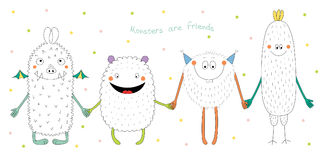 Cute monsters holding hands. Hand drawn vector illustration of cute funny monsters smiling and holding hands, with text Monsters are friends. Isolated objects on Royalty Free Stock Photography