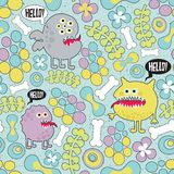 Cute monsters microbes seamless texture. Royalty Free Stock Image
