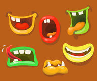 Cute monsters mouths. Monster expression funny, tongue. And teeth vector Stock Image