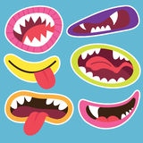 Cute Monsters Mouths. A Vector Illustration of Cute Monsters Mouths Stock Photos