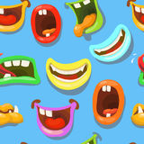 Cute monsters mouths vector seamless pattern. Royalty Free Stock Photography